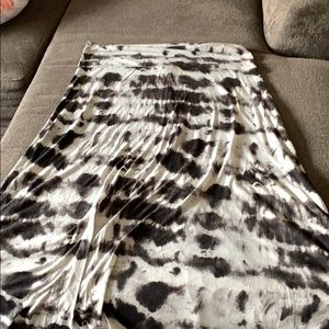 Black and White Tie Dye Maxi Skirt XXL Plus Size